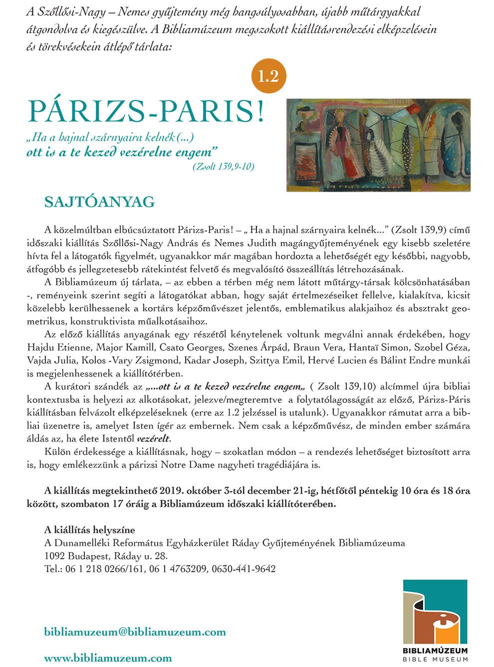 """PÁRIZS – PARIS! – """"Ha a hajnal szárnyaira kelnék (...) ott is a te kezed vezérelne engem"""""""
